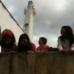 Children have a laugh after the Buck's screening in Guatavita